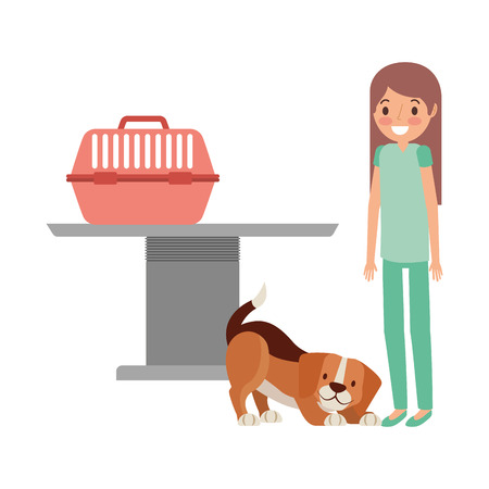 veterinary nurse and dog with cage clinic petcare vector illustration Ilustração