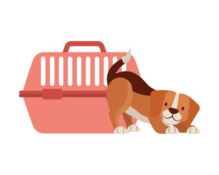 beagle dog and cage transport vector illustration