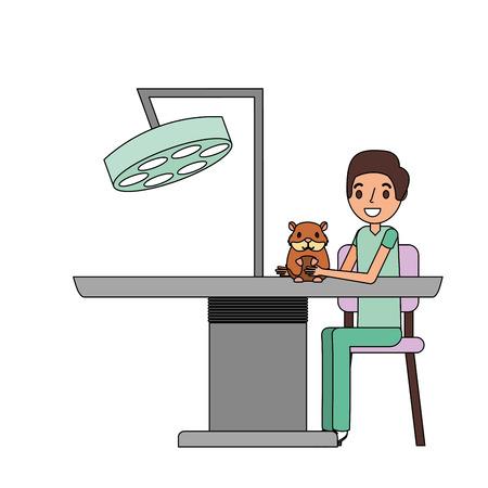 man and hamster veterinary clinic petcare vector illustration Çizim