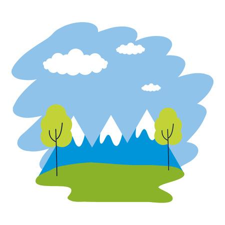 landscape mountains trees peak clouds vector illustration