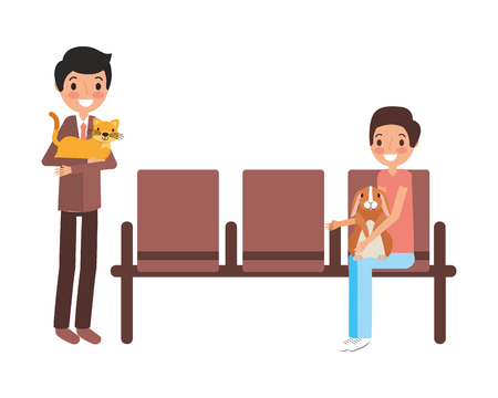 owners with rabbit and cat waiting on chairs vector illustration