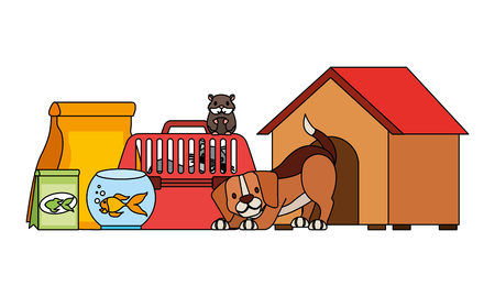 dog hamster and cat on cage food house pet vector illustration Stock Illustratie