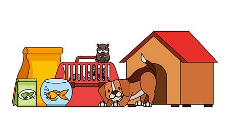 dog hamster and cat on cage food house pet vector illustration Illustration