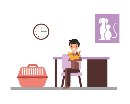 man with cat and cage consultation veterinary clinic vector illustration