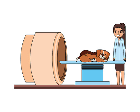 female doctor and dog scanning machine veterinary clinic vector illustration Illustration
