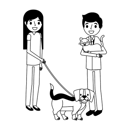 man with cat and girl holding dog vector illustration vector illustration