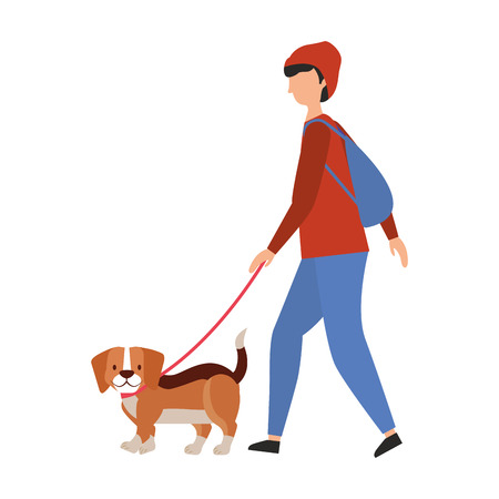 man with little beagle dog vector illustration vector illustration Illustration