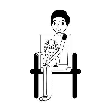 man with rabbit sitting on chair vector illustration vector illustration