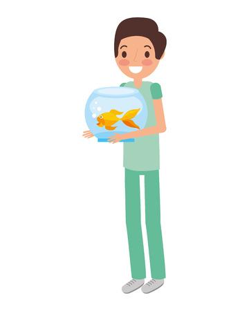 boy holding goldfish on bowl vector illustration Ilustração