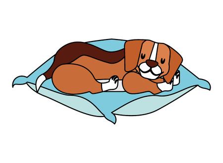 beagle dog sleeping on cushion vector illustration Stock fotó - 112115872