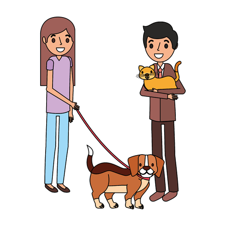man with cat and girl holding dog vector illustration Ilustracja