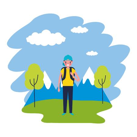 ragazzo con zaino viaggio montagne paesaggio illustrazione vettoriale