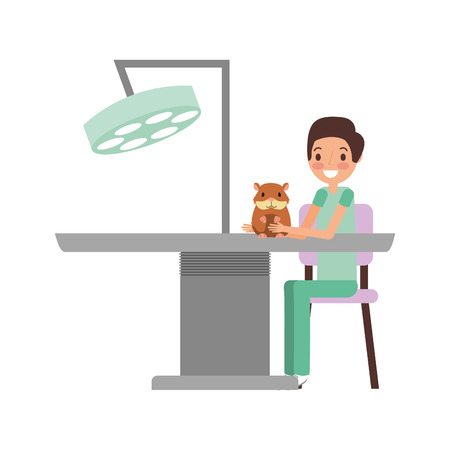 man and hamster veterinary clinic petcare vector illustration  イラスト・ベクター素材