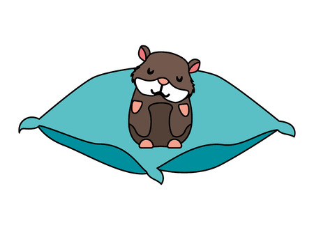 cute hamster pet on cushion vector illustration