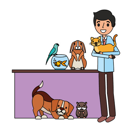 veterinary doctor with aminals clinic petcare vector illustration