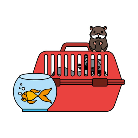 cat on cage hamster and goldfish vector illustration Illustration