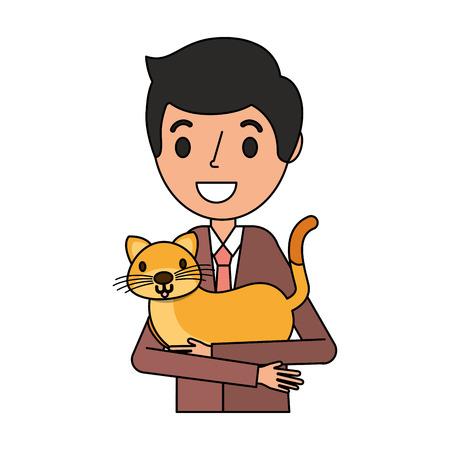 smiling man holding pet cat vector illustration Illustration