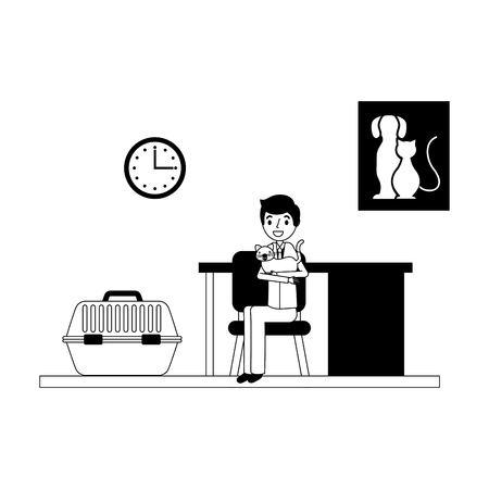 man with cat and cage consultation veterinary clinic vector illustration vector illustration
