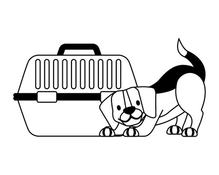 beagle dog and pet cage vector illustration vector illustration