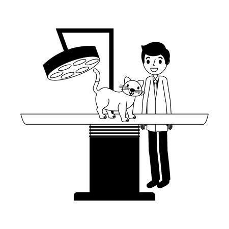 veterinary doctor with cat examination clinic vector illustration vector illustration Ilustracja