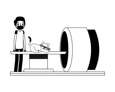 doctor and cat on scanning machine veterinary clinic vector illustration vector illustration
