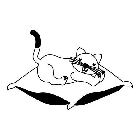 domestic cat sleeping on the cushion vector illustration vector illustration
