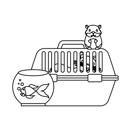 cat on cage hamster and goldfish vector illustration vector illustration