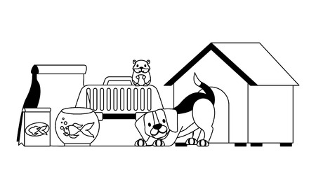 dog hamster and cat on cage food house pet vector illustration vector illustration Illustration