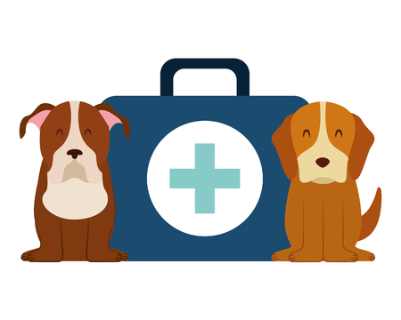 dogs and kit medicine veterinary clinic petcare vector illustration Zdjęcie Seryjne - 127685370