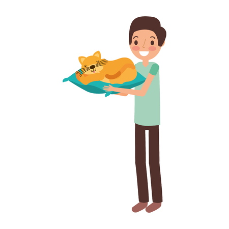 man holding cat with cushion vector illustration