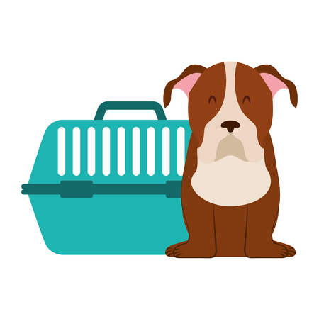 cute dog and pet cage vector illustration