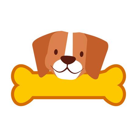 cute beagle dog and bone vector illustration Illusztráció