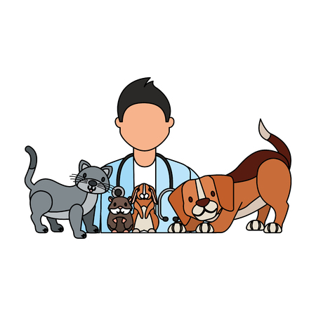doctor dog cat rabbit hamster veterinary clinic vector illustration 일러스트