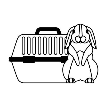 cute rabbit and pet cage vector illustration Archivio Fotografico - 112117914