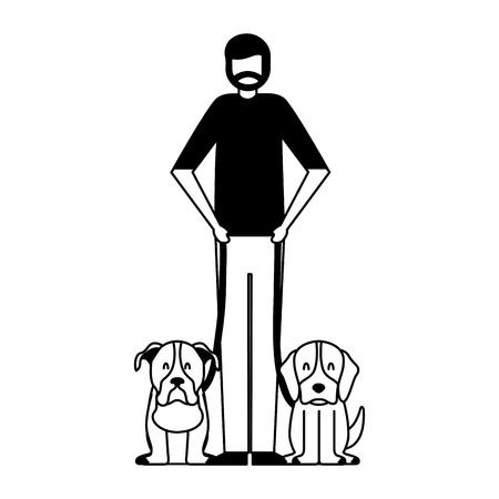 beard man holding two pet dogs vector illustration Illustration