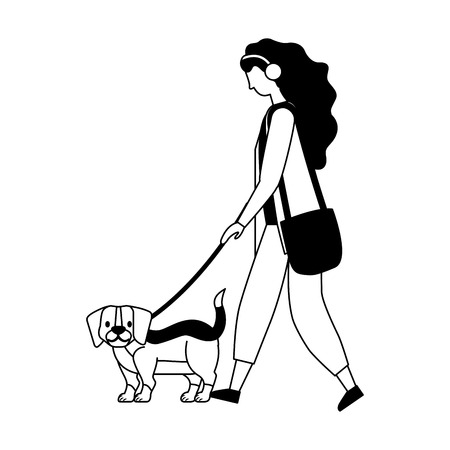 girl with little beagle dog vector illustration vector illustration