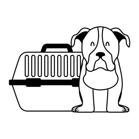 cute dog and pet cage vector illustration Archivio Fotografico - 112117918