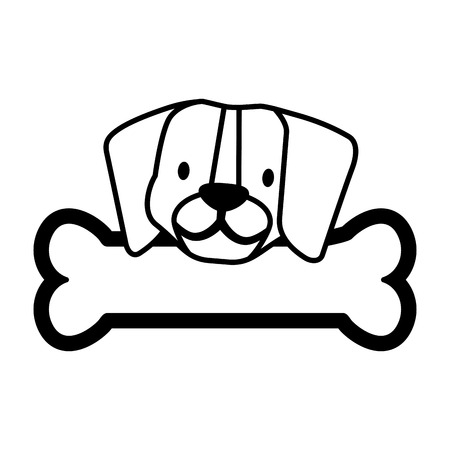 cute beagle dog and bone vector illustration