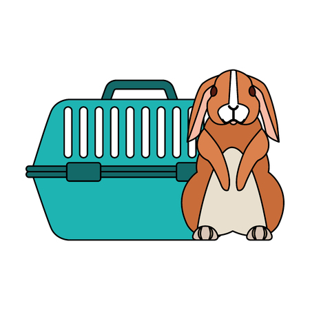 cute rabbit and pet cage vector illustration Ilustracja