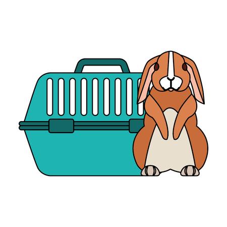 cute rabbit and pet cage vector illustration Archivio Fotografico - 127685396