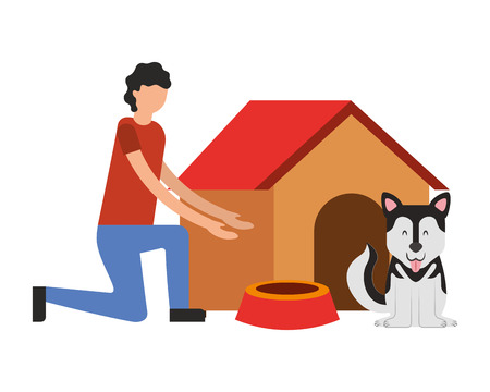 man and dog house food bowl vector illustration