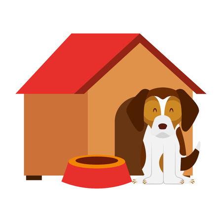 dog wooden house bowl food vector illustration Stock Illustratie