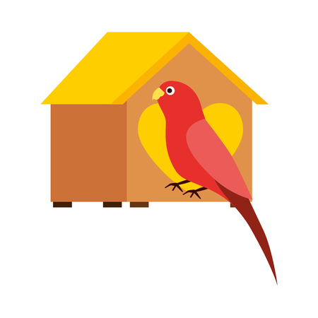 red parrot with wooden house pet vector illustration Standard-Bild - 127685403