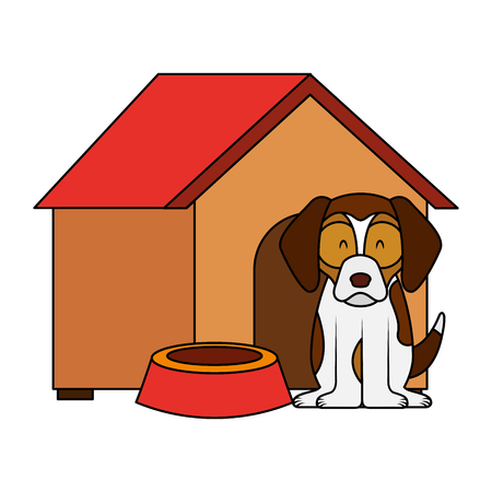 dog wooden house bowl food vector illustration Illustration