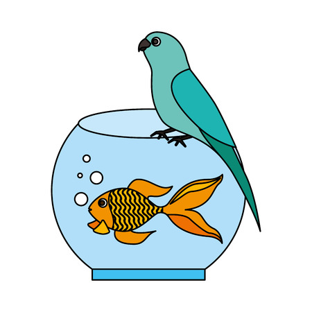canary and goldfish in bowl vector illustration