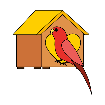 red parrot with wooden house pet vector illustration  イラスト・ベクター素材