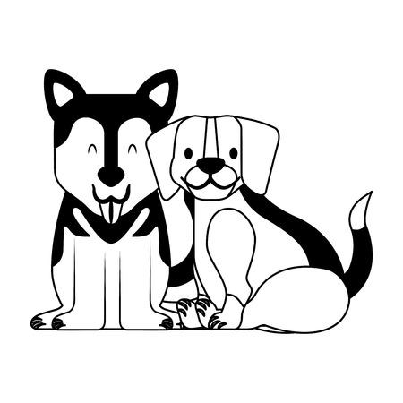 Ilustración de vector de mascota de perros beagle y siberianos Ilustración de vector