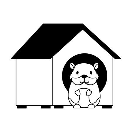 hamster pet in wooden house vector illustration Ilustração