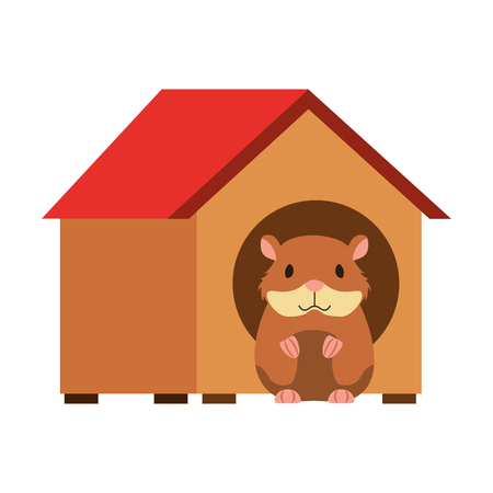 hamster pet in wooden house vector illustration  イラスト・ベクター素材