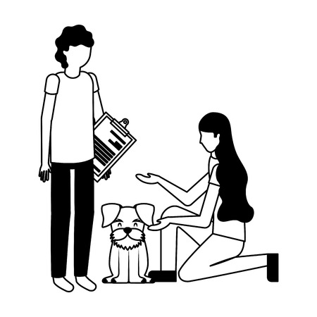 doctor woman and dog veterinary clinic petcare vector illustration